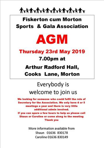 - Sports & Gala Association AGM  this Thursday 23  May 7.30pm