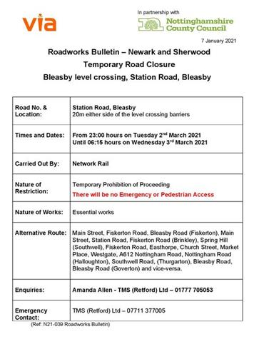 - Forthcoming closure of Level Crossing at Bleasby