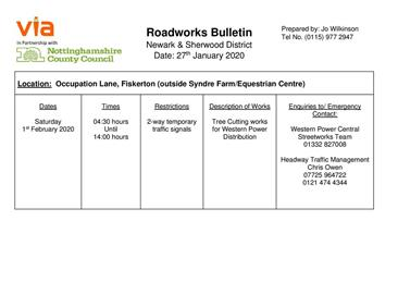 - ROADWORKS ON OCCUPATION LANE 1 FEBRUARY  04.30-14.00