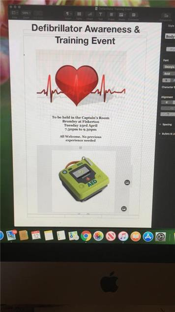 - Defibrillator Training at the Bromley on Tuesday 23 April 7.30-9.30pm